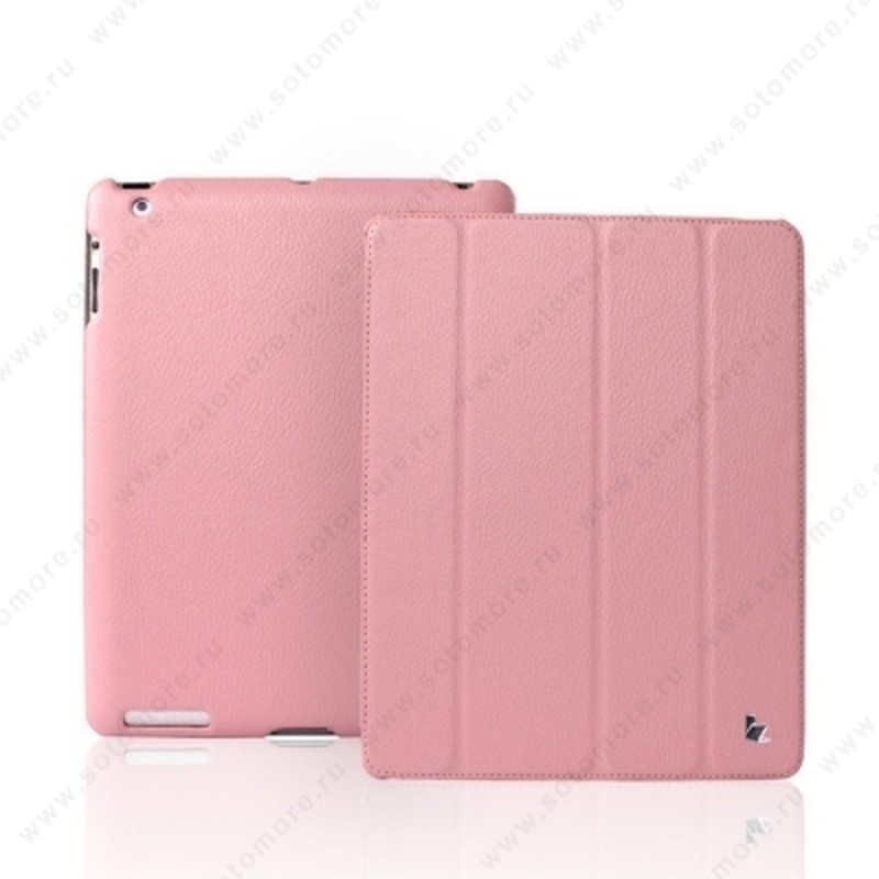 Чехол-книжка Jisoncase для Apple iPad 4/ 3/ 2 JS-IPD-07I с логотипом розовый SLE