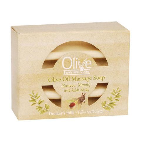 Массажное оливковое мыло с молоком ослицы Olive Beauty Medi Care 100 гр