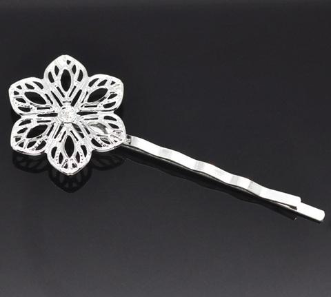 Основа для заколки - невидимки с филигранным цветком 23 мм, 61 мм (цвет - серебро) (B15189A)