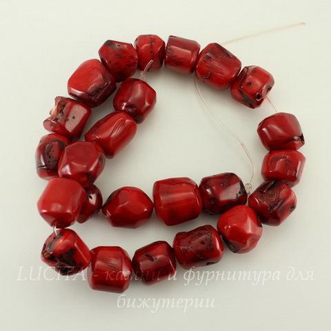 Бусина Коралл, фриформ, цвет - красный, 15х13 мм, нить