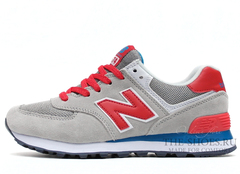 Кроссовки Женские New Balance 574 Grey Red White Blue