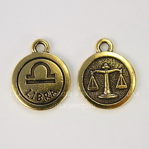 """Подвеска TierraCast знак зодиака """"Весы"""" (цвет-античное золото) 19х15 мм"""