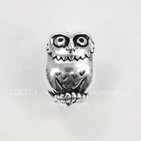 """Бусина TierraCast """"Сова"""" (цвет-античное серебро) 12х8х8 мм"""