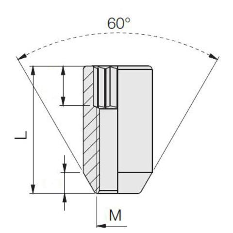 Гайка колёсная М12x1.25 длина=31мм внутренний 6-гранник конус хром