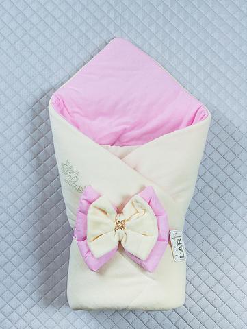 Велюровый конверт одеяло Бантик  (кремовый/розовый)