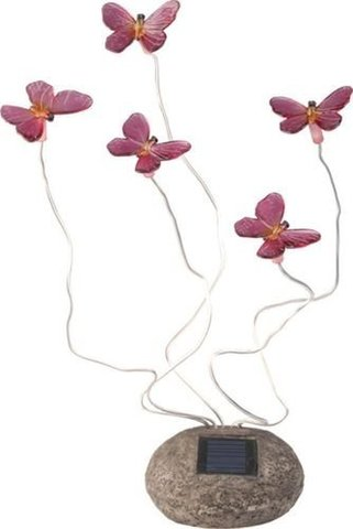 Светильник садово-парковый на солнечной батарее, 5 белых LED, розовый, CD712P (Feron)