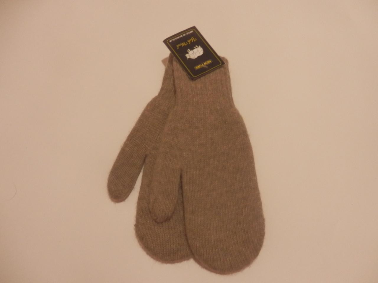 Детские варежки из  шерсти  яка (серые) фото