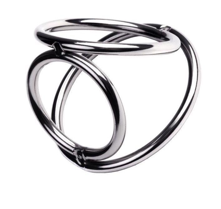 Эрекционные кольца: Тройной бондаж для пениса из металлических колец размера S