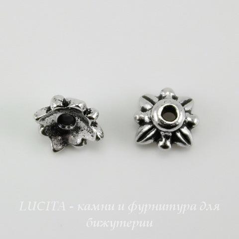 "Шапочка для бусины TierraCast ""4 листика"" (цвет-античное серебро) 6х3 мм ()"