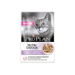 Purina Pro Plan Delicate Nutri Savour влажный корм в соусе для взрослых кошек и котов с чувствительной пищеварительной системой с индейкой