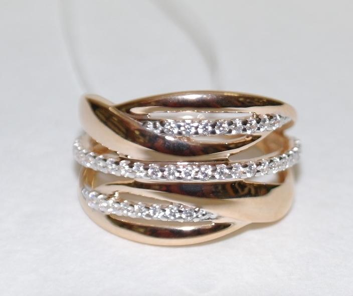 Широкое кольцо из золочёного серебра 0537