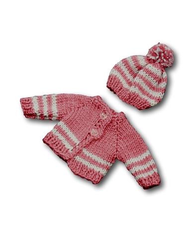 Вязаный жакет и шапочка с помпоном - Розовый. Одежда для кукол, пупсов и мягких игрушек.