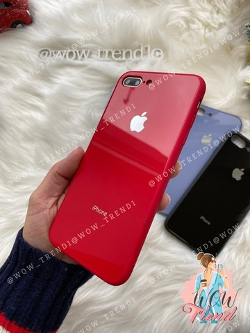 Чехол iPhone 7/8 Plus Glass Pastel color Logo /red/