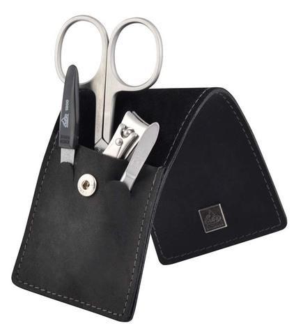 Немецкий фирменный маникюрный набор в 4 предмета ножницы для ногтей пинцет наклонный пилка металлическая книпсер из высококачественной стали в черном футляре из натуральной кожи Solinger Erbe 9360ER в подарочной коробке