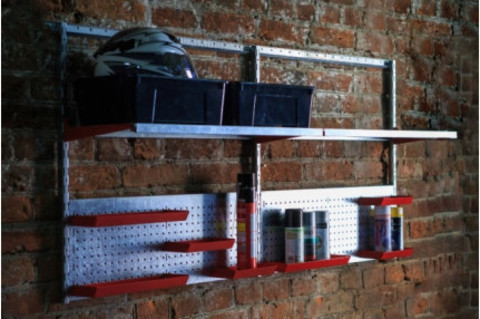 Стеллажи для гаража. Набор полок и перфопанелей с лотками. H 1600 мм, L 800 мм,