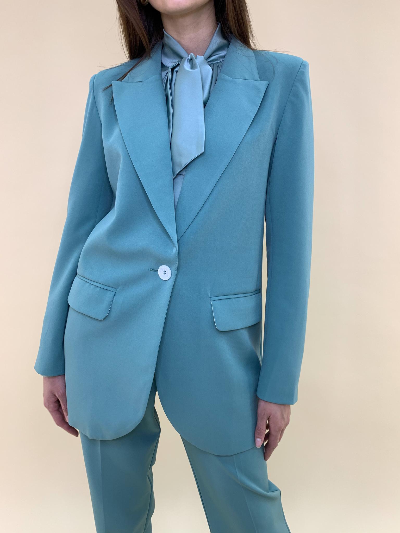 Пиджак со шлицей (острый лацкан) (бирюзовый)