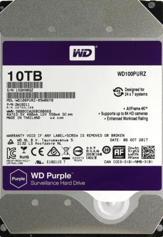 10 ТБ Жесткий диск WD Purple [WD100PURZ]