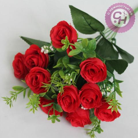 Розы искусственные Марлен, букет 10 голов, 32 см.