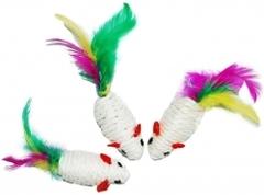 Уют мышь-погремушка сезаль с перьями 6см