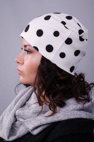 Фешн. Молодіжні жіночі шапки. Білий+чорний горох.