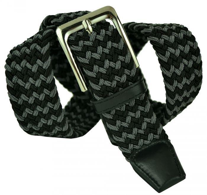 Ремень-резинка текстильный серо-чёрный 35 мм 35Rezinka-167