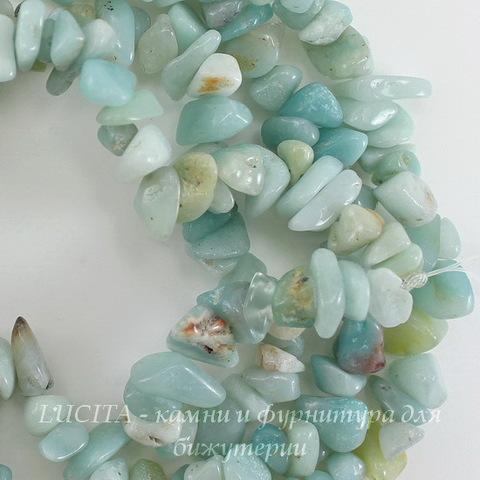 Бусина Амазонит, крошка, цвет - светлый серо-бирюзовый, 4-10 мм, нить 84-86 см