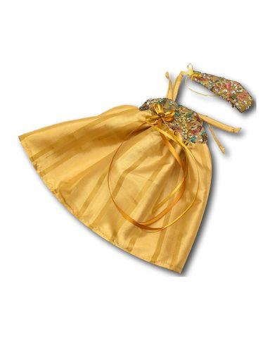 Платье вечернее - Охра. Одежда для кукол, пупсов и мягких игрушек.