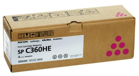 Принт-картридж Ricoh SP C360HE, пурпурный. Ресурс 5000 стр. (408186)