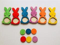 Развивающая игра Цветные зайки, Сенсорика