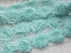 Шифоновые шебби-розы тиффани  диаметр 6 см