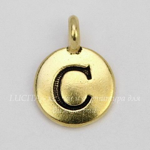 "Подвеска TierraCast ""Буква C"" (цвет-античное золото) 17х12 мм"