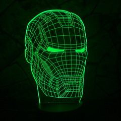 3D светильник с пультом Железный человек Шлем — 3D light remote control Iron Man Helmet