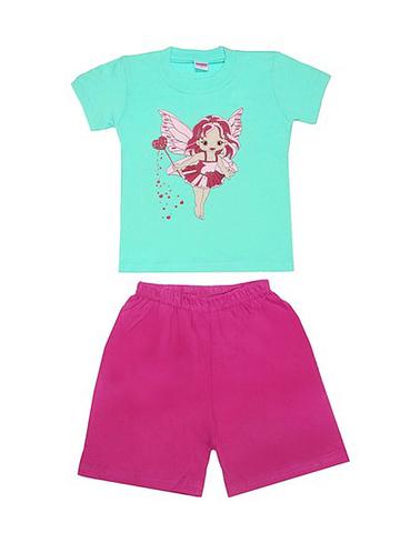 DL11-73-18-7 Комплект детский, бирюзовый (футболка+шорты)