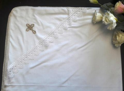 Крестильная пеленка  из трикотажа с вышивкой