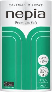 Бумага туалетная двухслойная, NEPIA, Premium Soft, арома мыла 30 м, 12 рулона
