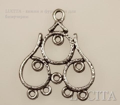 """Коннектор """"Три кольца"""" (1-8) 28х24 мм (цвет - античное серебро)"""