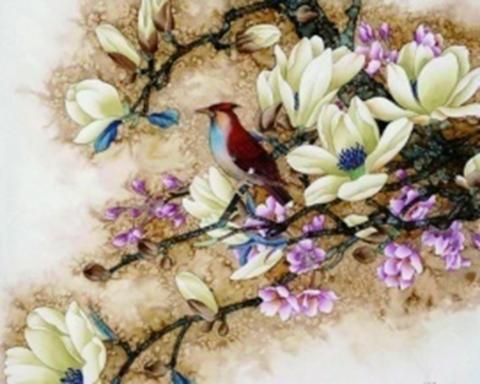 Картина раскраска по номерам 30x40 Птица на веточке с ...