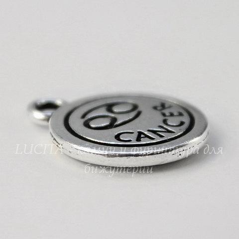 """Подвеска TierraCast знак зодиака """"Рак"""" (цвет-античное серебро) 19х15 мм"""