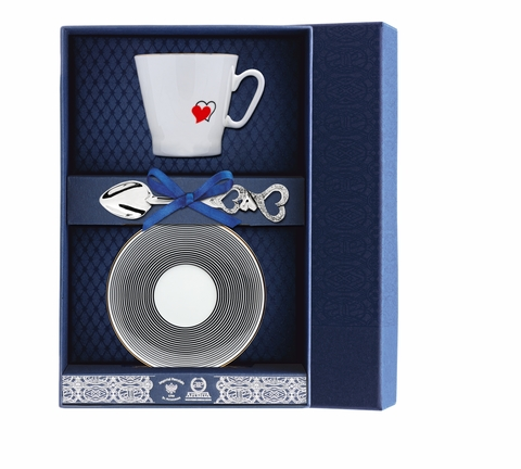 Набор кофейный «Черный кофе-Сердечки» 3пр.