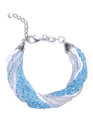 Бисерный браслет, 24 нити, серебристо-голубой