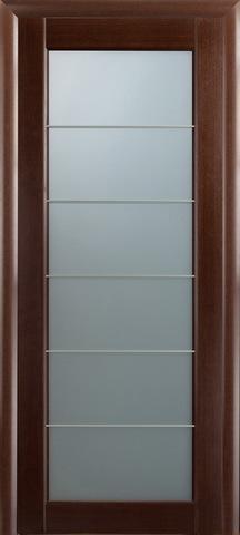 Дверь Модерн - 3 (стекло белое матовое) (шпон - венге) (венге, остекленная шпонированная), фабрика LiGa