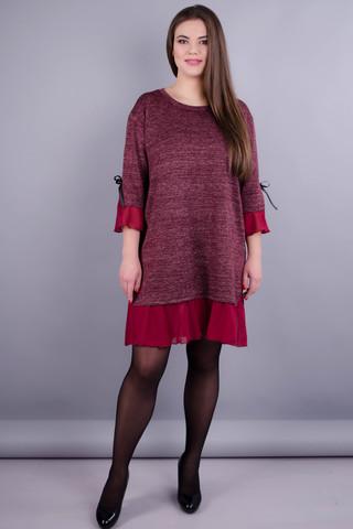 Чеслава. Платье плюс сайз для женщин. Бордо/люрекс.