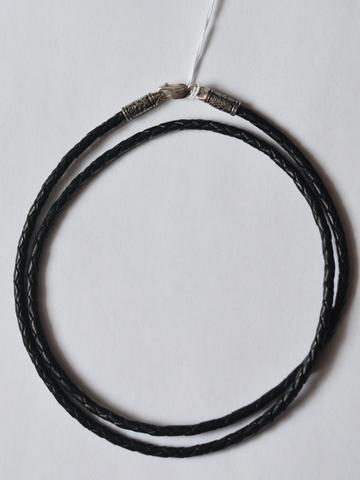 Шнурок из кожи 3мм. (с серебряной застежкой).