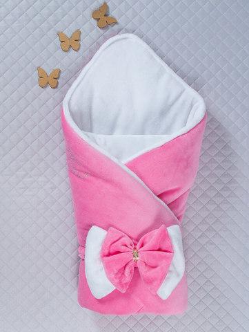 Зимний велюровый конверт одеяло Бантик (розовый/белый)