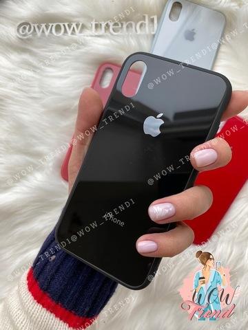 Чехол iPhone X/XS Glass Pastel color Logo /black/