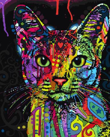 Картина раскраска по номерам 40x50 радужная кошка– купить ...