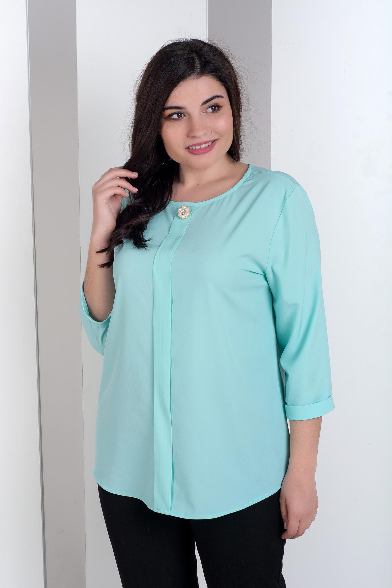 55d6cd4b35a Лиза. Стильная блуза больших размеров. Мята – купить в интернет ...