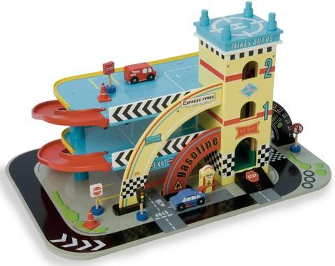 Le Toy Van. Гараж Майка с машинками и знаками.