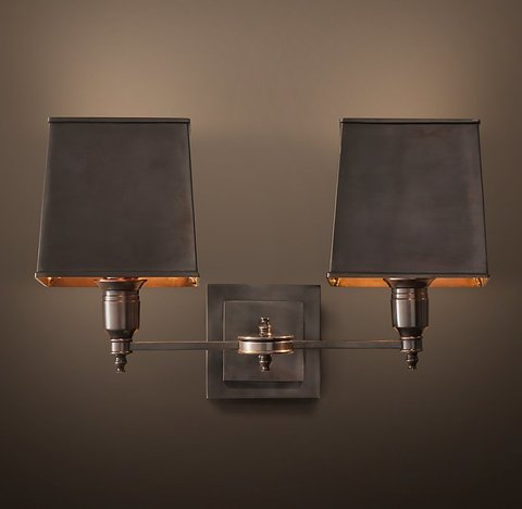 Claridge Double Sconce - Bronze with Metal Shade