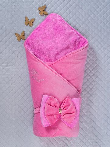 Зимний велюровый конверт одеяло Бантик (розовый/розовый)